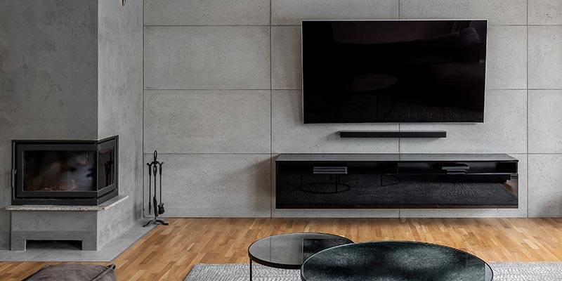 modern decoration with concrete floors