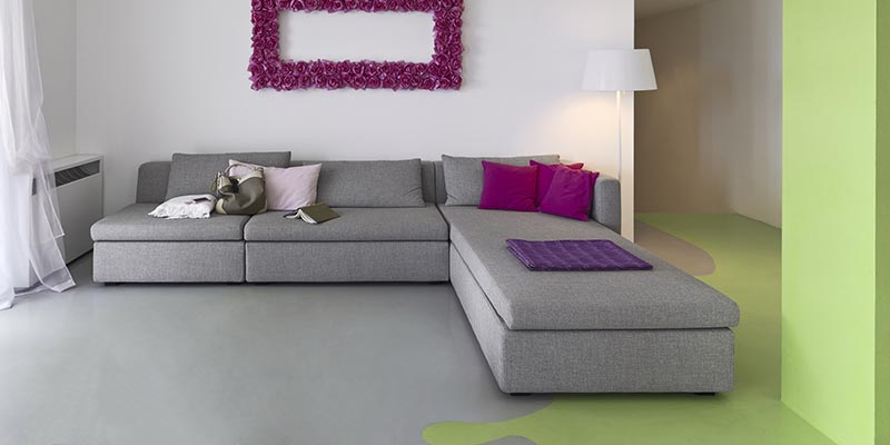gray floors with vibrant colors